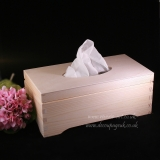 Plain wooden Tissue box - top opened, ..