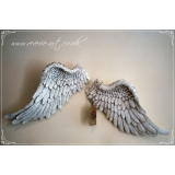 Antique White Pair of Angel Wings - wa..