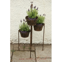 Forged metal tall planter