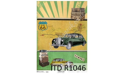 ITD A4 rice paper - R1046 Vintage cars, route 66