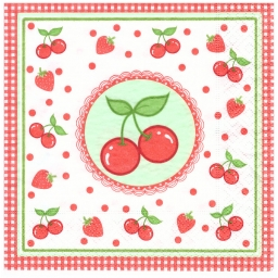 Napkins 33x33 - cherries