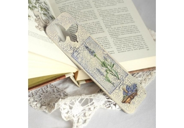 Lavender - unique handmade decoupage wooden bookmark