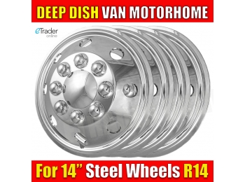 "14"" 14 Inch Van Chrome Wheel Trims Deep Dish Hub Caps Quality RV Style"