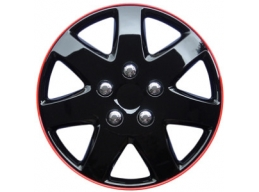 16 Inch Wheel Trims ´Michigan´ Ice Black With Red Rim