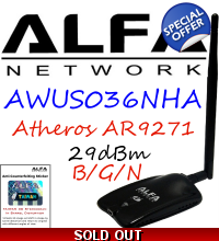 Alfa Network Awus036NHA B/G/N Wireless USB Adapter Atheros AR9271