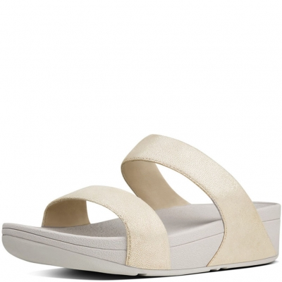 Fitflop Shimmy Suede Slide Pale Gold