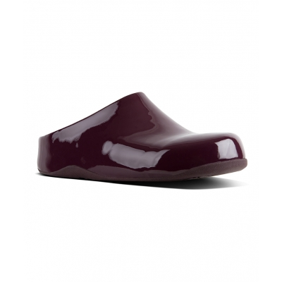 Fitflop Shuv Clog Patent Deep Plum