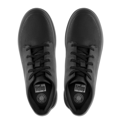 Fitflop Sporty-Pop High-Top perforiertes Leder All Black