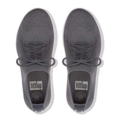 Fitflop F-Sporty Überknit Metallic-Gewebe Charcoal Metallic Pewter