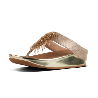 Fitflop Cha Cha Fringe Gold Shimmer