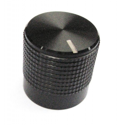 15mm Knurled Black Aluminium Push Fit knob