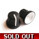 Soft-touch rubber 16x15mm knob - black and white