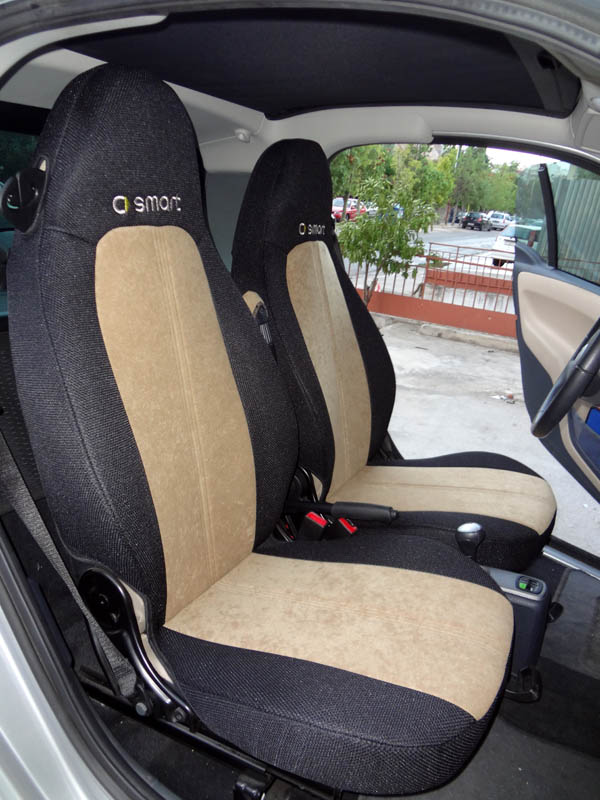 for SMART FORTWO SET LUXURIOUS SYNTHETIC SEAT COVER with BLACK ...