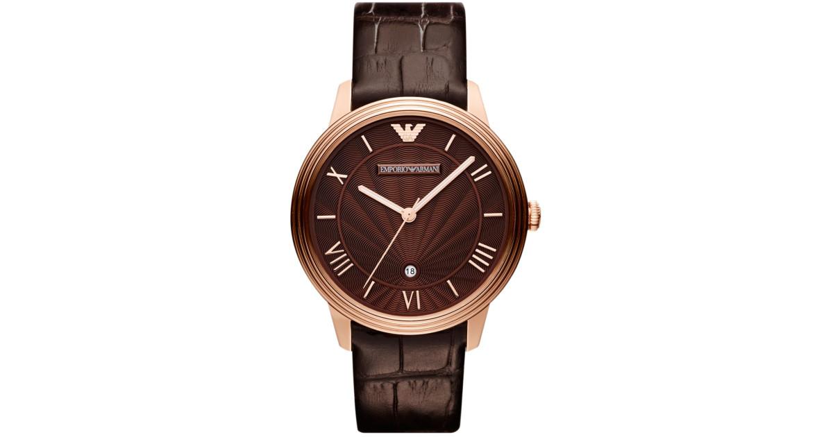 e1b99a49dec9 Emporio Armani AR1613 Gents Dino Brown Leather Strap Watch
