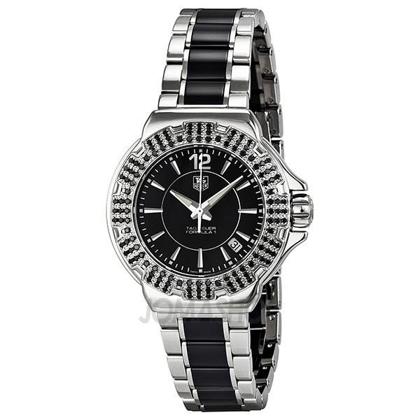 0094440e05c Tag Heuer F1 Black Dial Steel Ceramic Black Diamond Bezel Ladies Watch