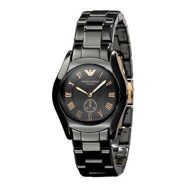 6a2f0c9741 Emporio Armani Watches AR1412 Ladies Ceramic Rose Gold Black Watch
