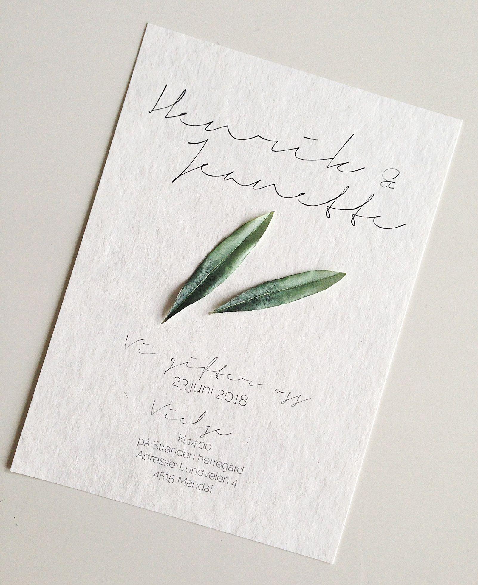 1fde8c51 Innbydelse bryllup/fest med håndlagede olivenblader.