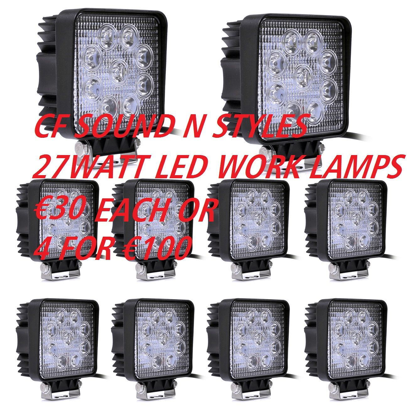 27 Watt Led High Power Cree Work Lamp Light 12 Amp 24 Volt