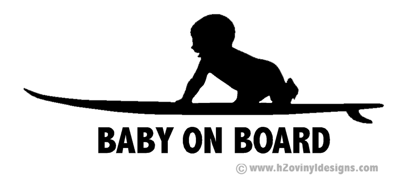 Baby On Board Surf Vinyl Sticker