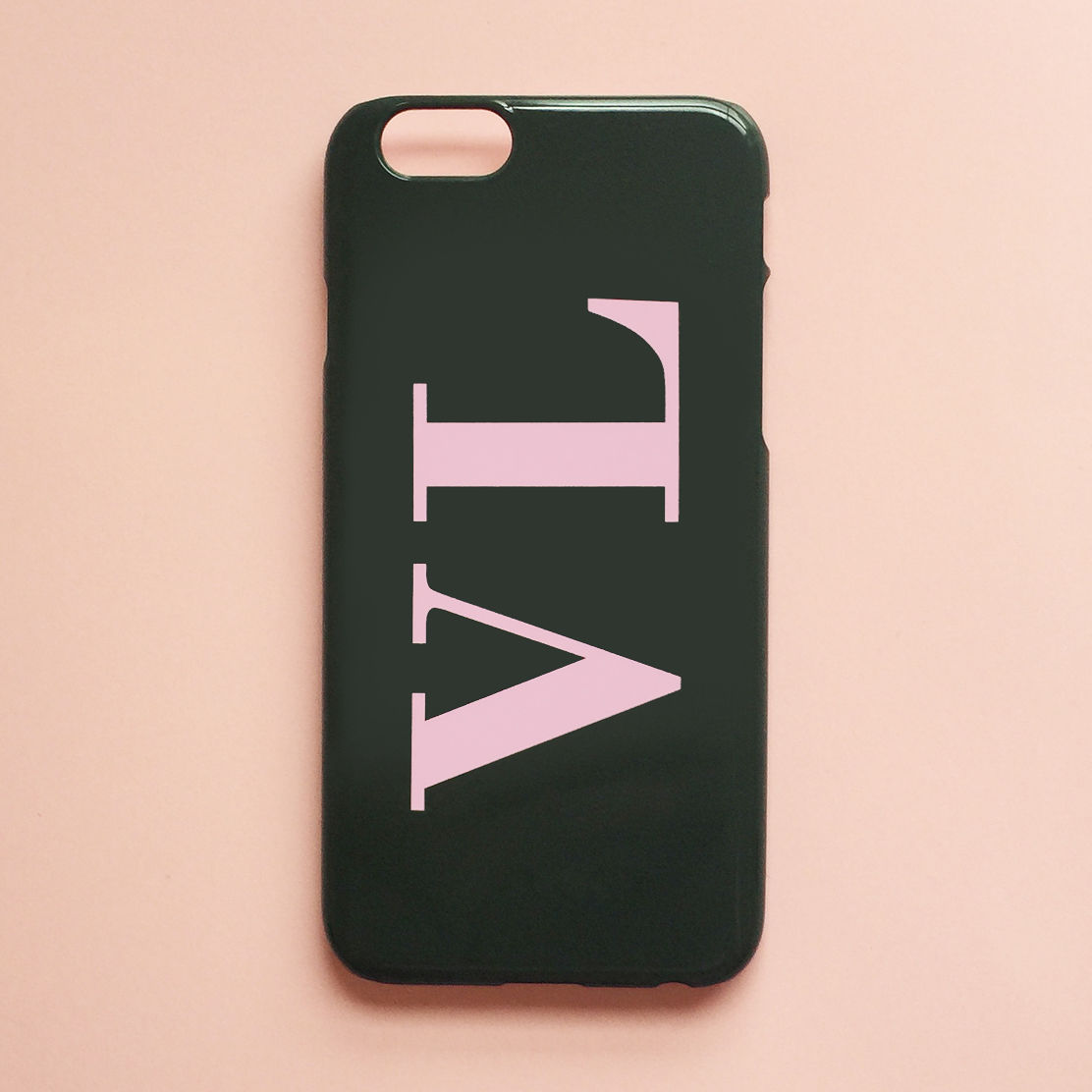 best loved c4251 06f3b Khaki green & baby pink monogram phone case - Large initials