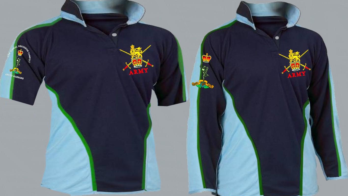 caad7306 RAMC Royal Army Medical Corps Regimental 3&4+ Colour Kooga Style Rugby Shirt