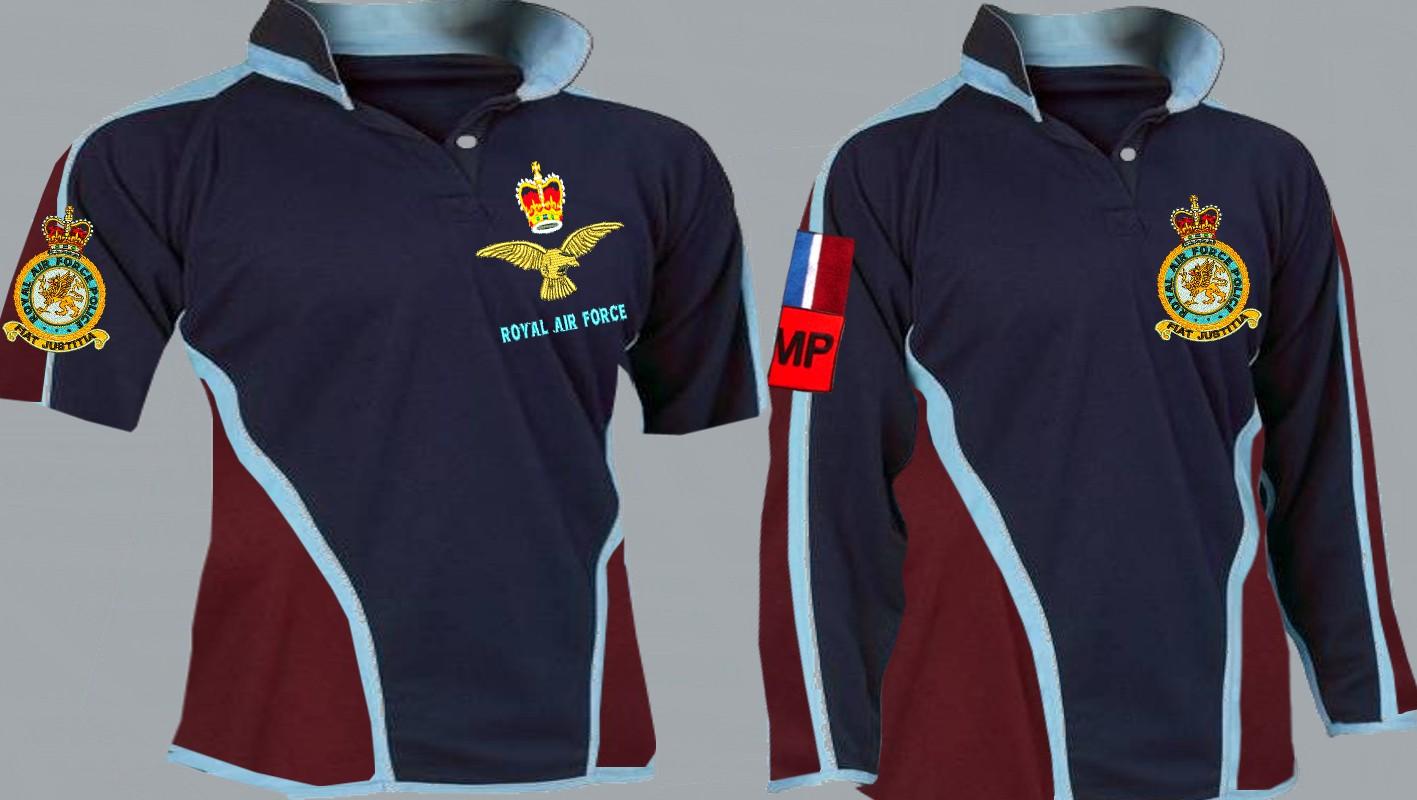 1 A Royal Air Force Police Regimental 3&4+ Colour Kooga Style Rugby Shirt