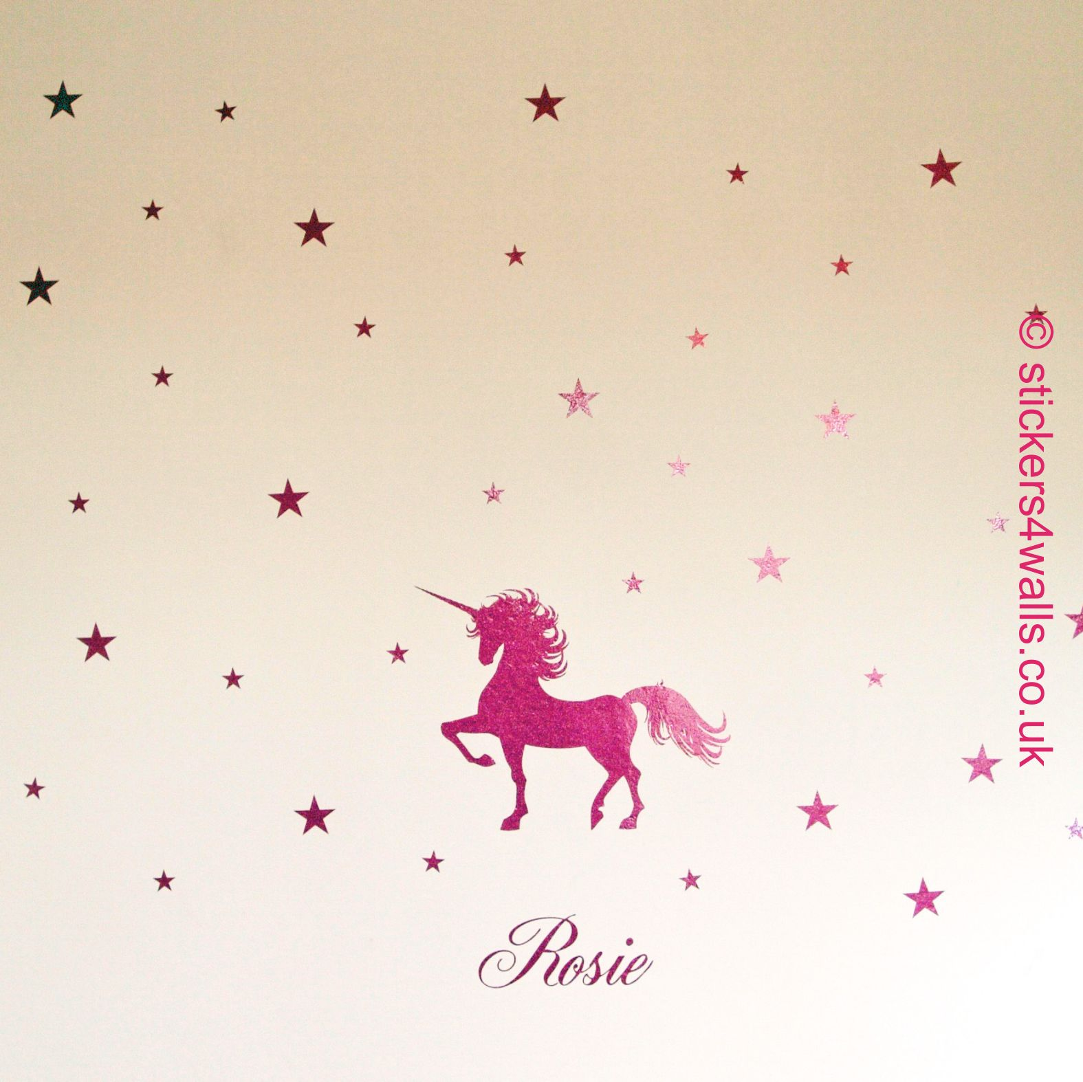 Personalised unicorn and stars fairytale wall sticker