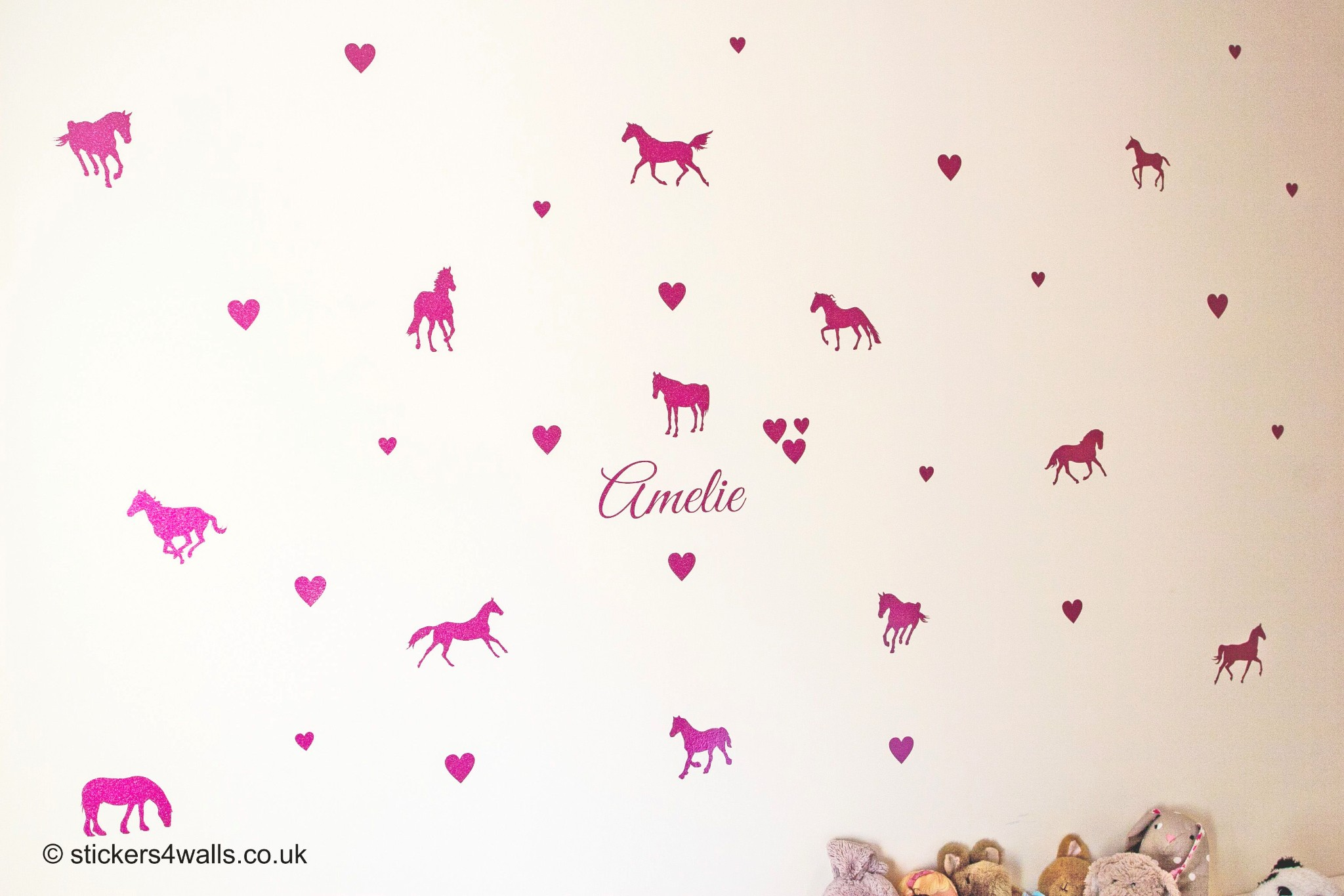 Gee up horsey! Personalised glittery horse wall stickers