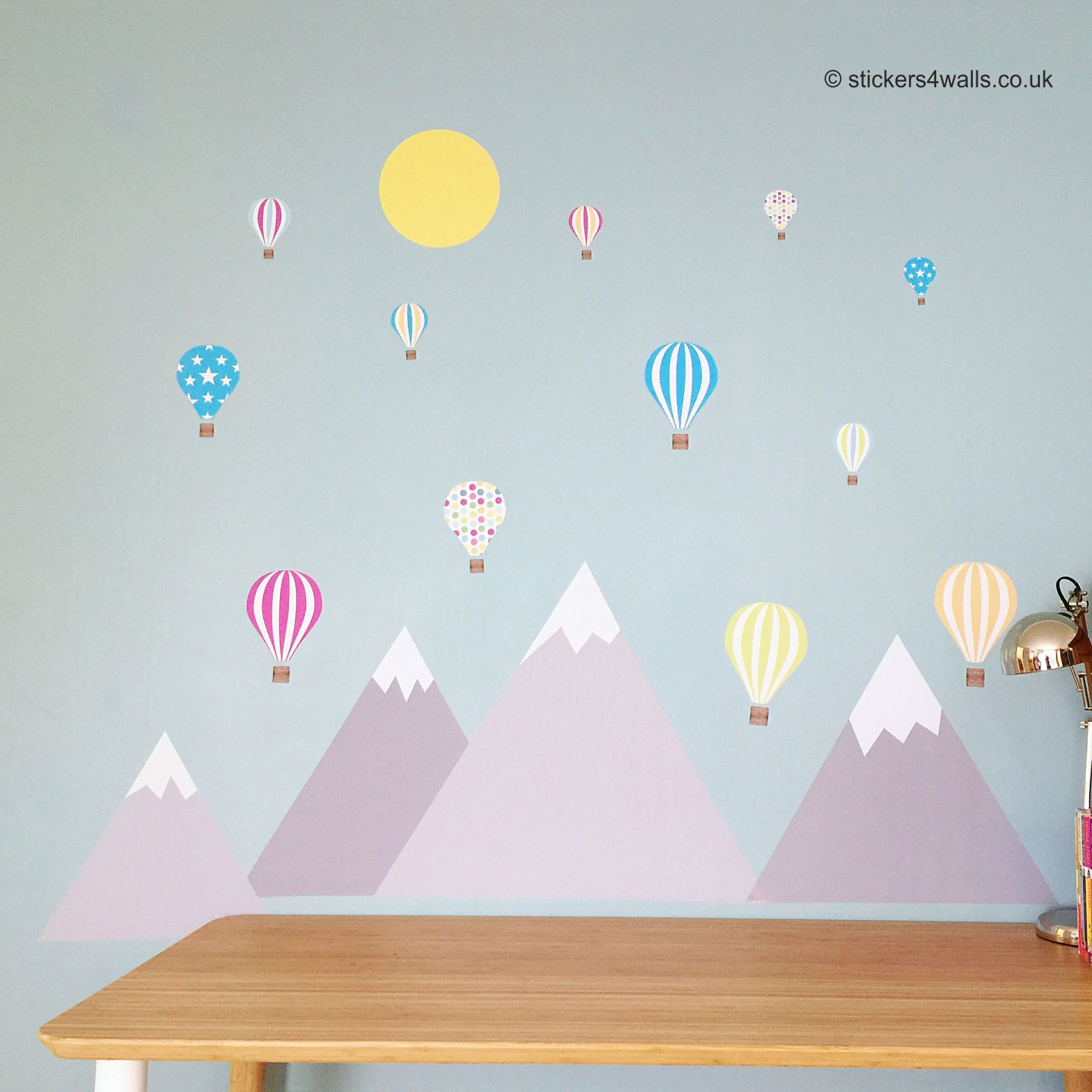 Mountain and Air Balloon Wall Stickers