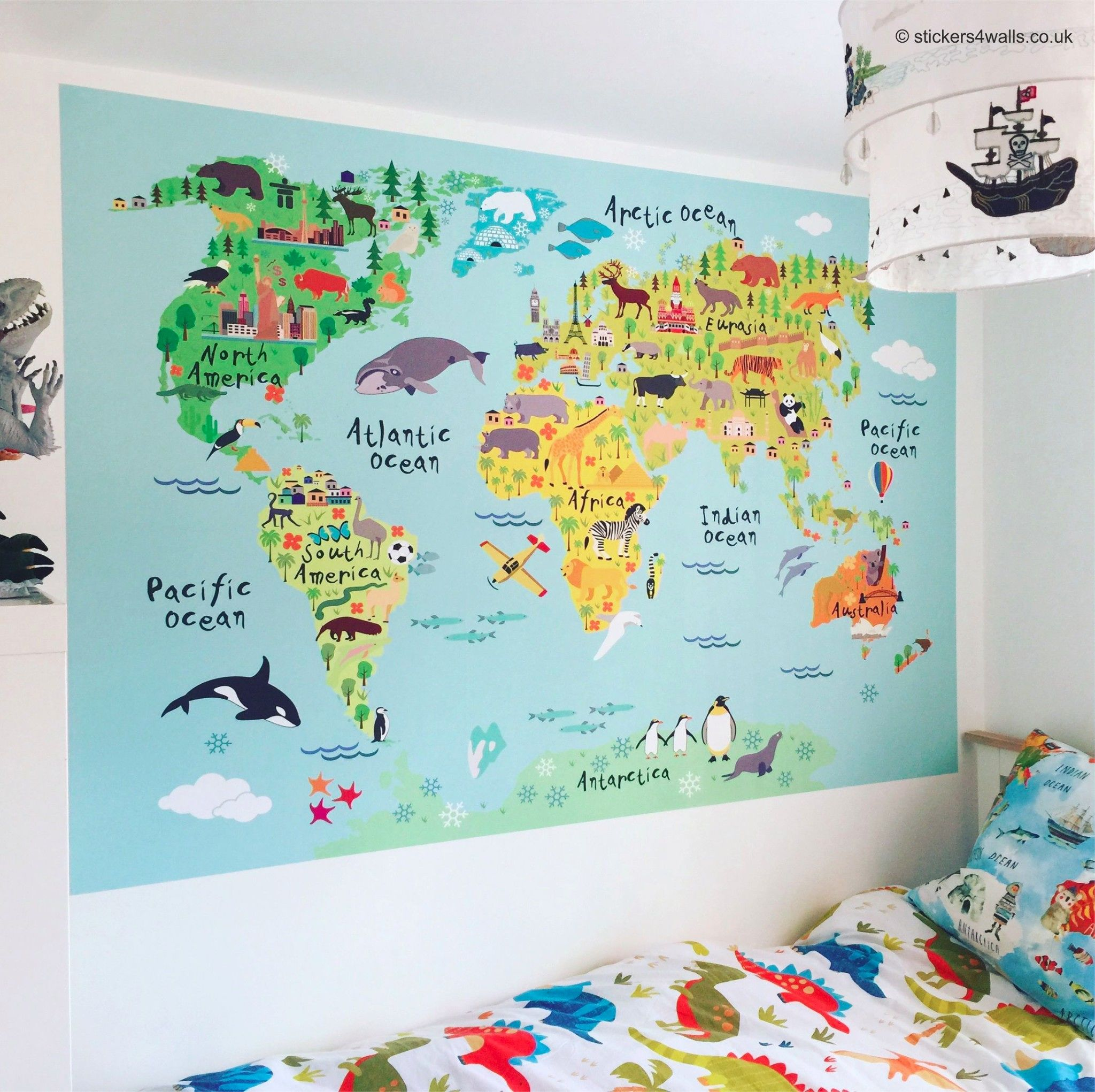 Map Of The World Stickers For Walls World Map Fabric Wall Sticker For Kids