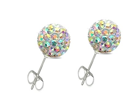 04cb6e747f327 Disco Coloured SHAMBALLA SWAROVSKI CRYSTAL BALL EARRINGS