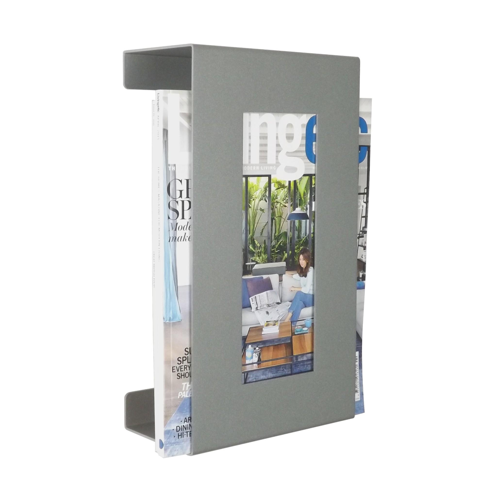 Contemporary Wall Mounted Metal Magazine Rack Metallic