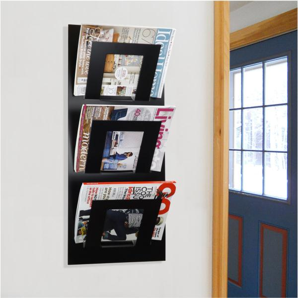Triple Tier Wall Mounted Metal Magazine Rack Black