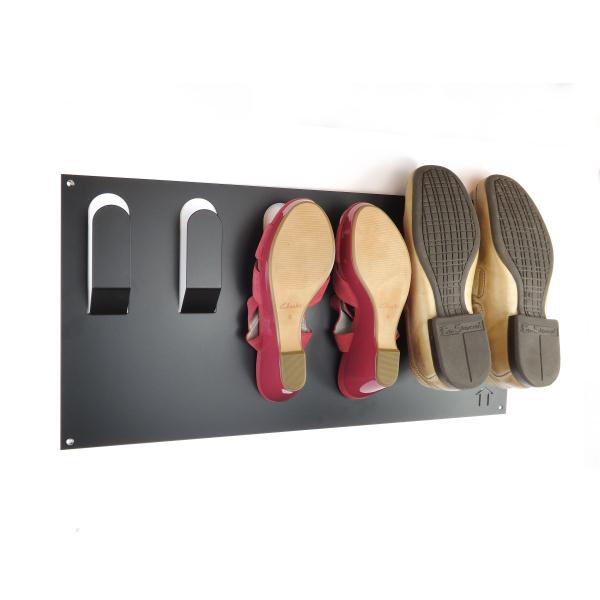 Horizontal Wall Mounted Metal Shoe Rack Black