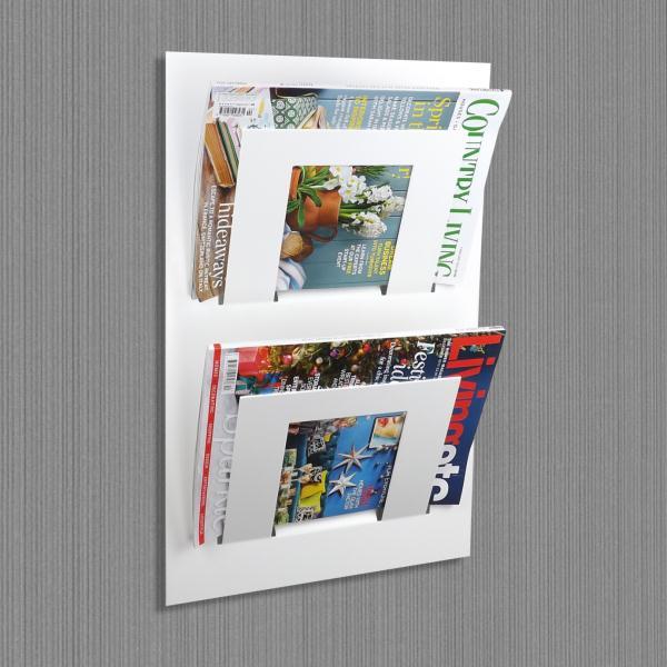 Double Tier Wall Mounted Metal Magazine Rack White