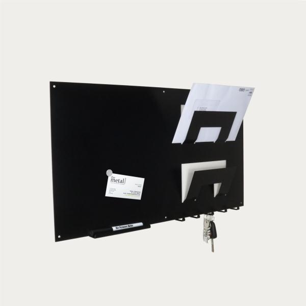 3 In 1 Magnetic Memo Board Letter Rack And Key Holder Black