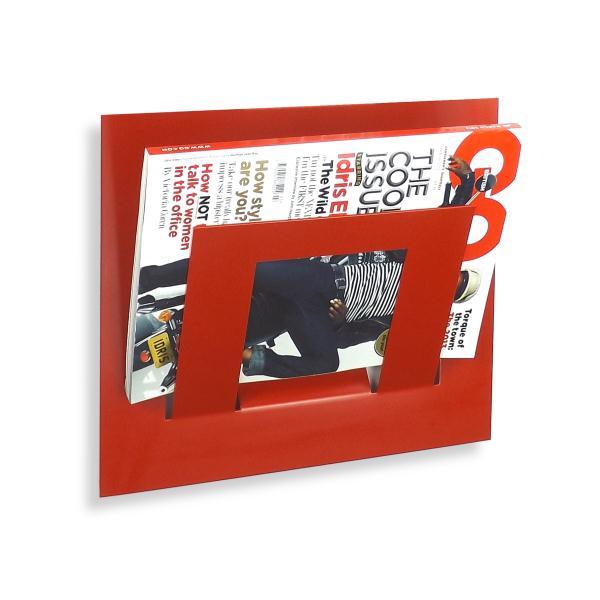 Single Tier Wall Mounted Metal Magazine Rack Red