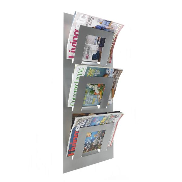 Triple Tier Wall Mounted Metal Magazine Rack Metallic Silver