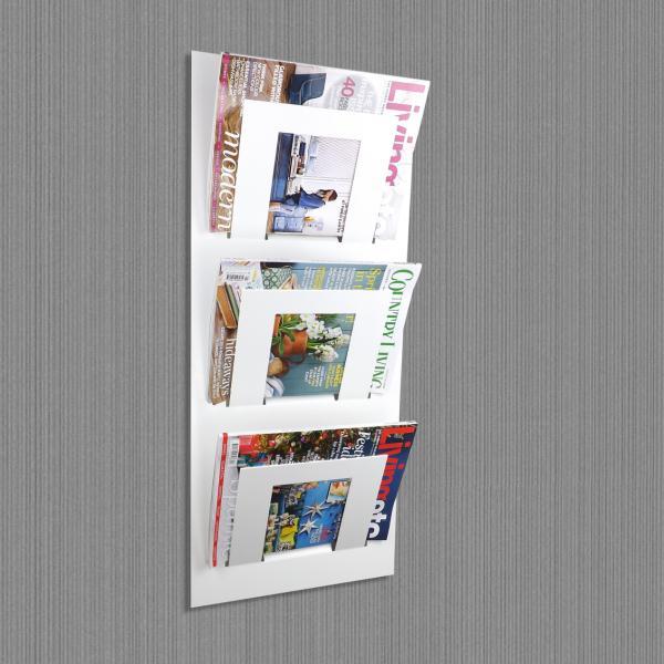 Triple Tier Wall Mounted Metal Magazine Rack White