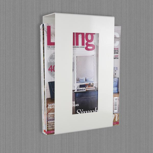 Contemporary Wall Mounted Metal Magazine Rack Ivory