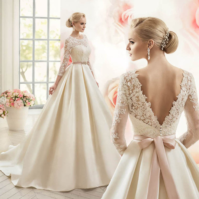 Cheap Wedding Dresses Lace Bridal Gowns Backless 3/4