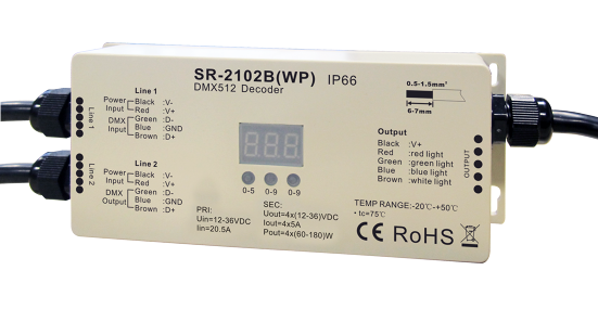 SR-2102BWP LED DMX 4 Channel Decoder - Water Proof