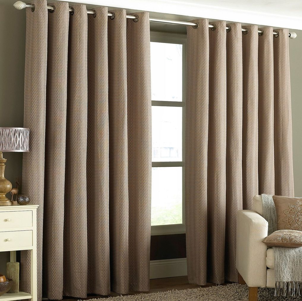 Tobago 66x90 Eyelet Lined Curtains Mocha