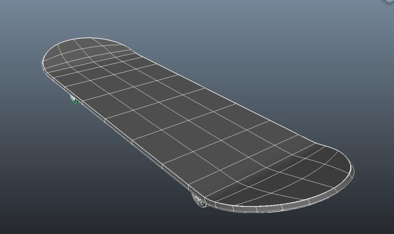 skateboard using nurbs only - top