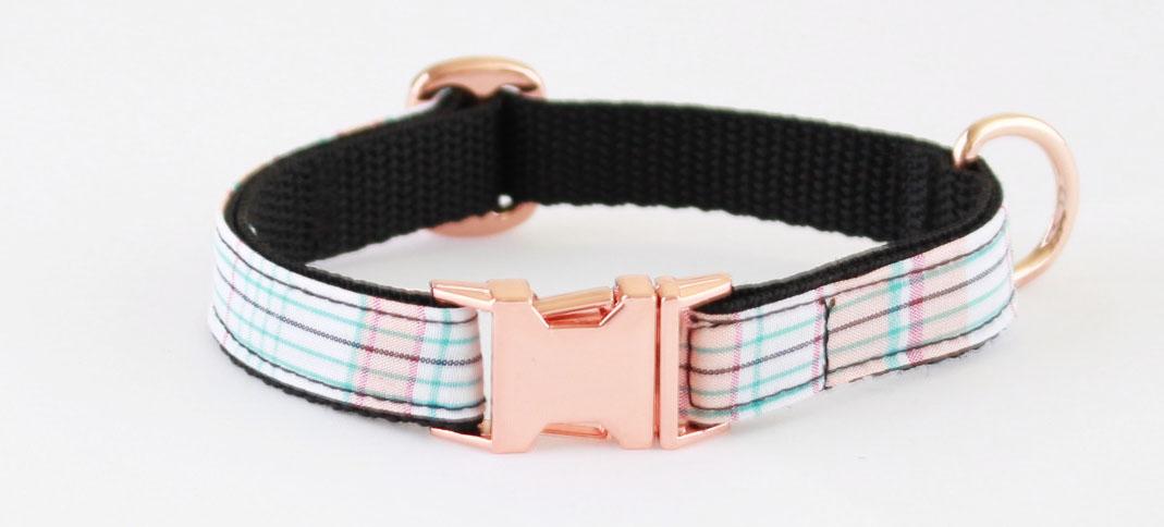 Image result for Gentlemans Check On Rose Gold Slim Fit Dog Collar