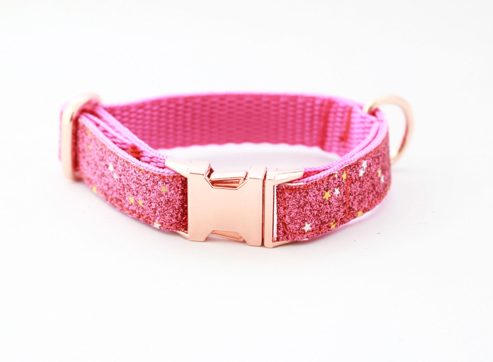 68a1ffe55ef27 Pink Diamond Blaze On Rose Gold Slim Fit Collar - 15mm wide