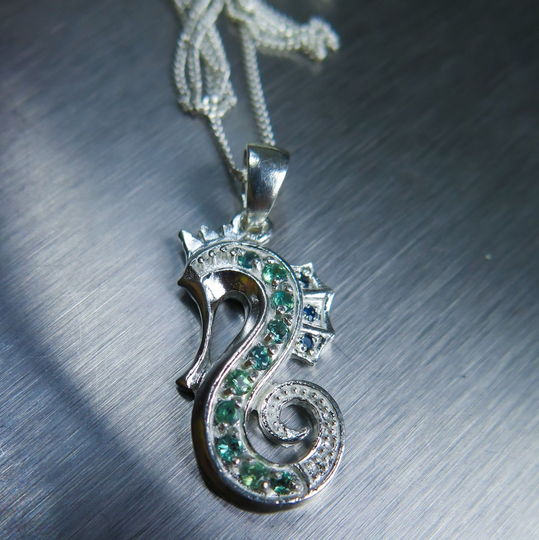 Natural Alexandrite Necklace: Natural Alexandrite, Benitoite & Diamond Necklace Sterling
