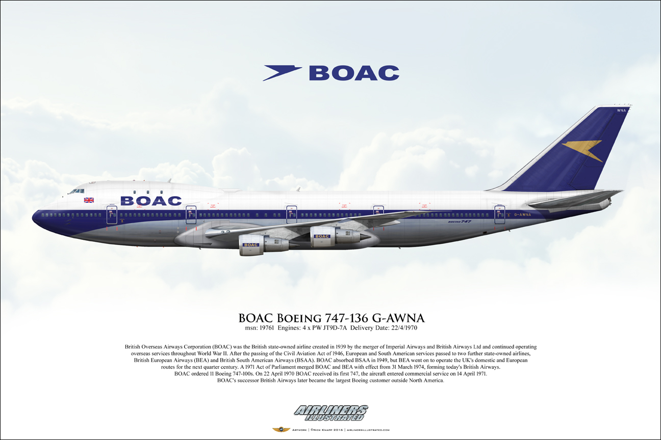 Airliners Illustrated 174 Boac Boeing 747 136 G Awna Airliner