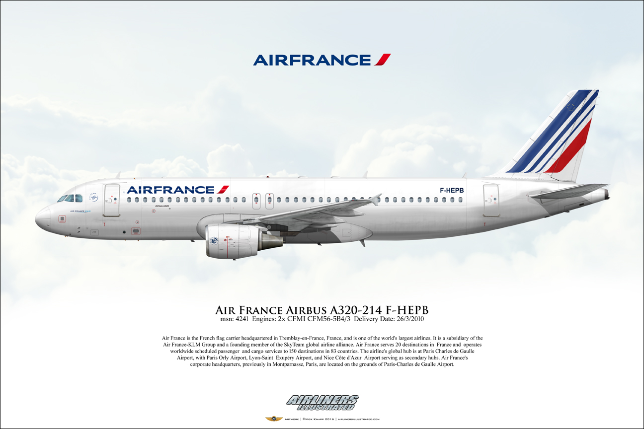 Airliners Illustrated 174 Air France Airbus A320 214 F Hepb