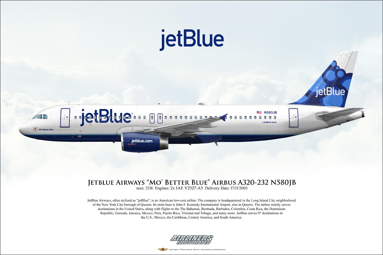jetblue airways mo 39 better blue airbus a320 232 n580jb. Black Bedroom Furniture Sets. Home Design Ideas